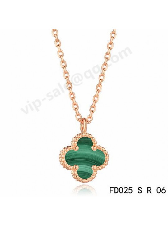 Van cleef & arpels Magic Alhambra necklace in pink gold with Malachite