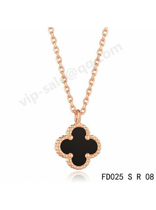 Van cleef & arpels Vintage Alhambra pendant in pink gold with Onyx