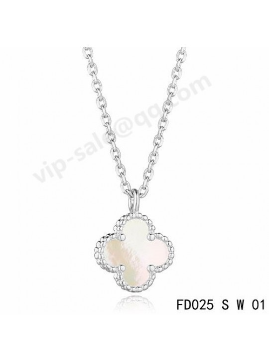 Van cleef & arpels Vintage Alhambra pendant in white gold with white Mother-of-pearl