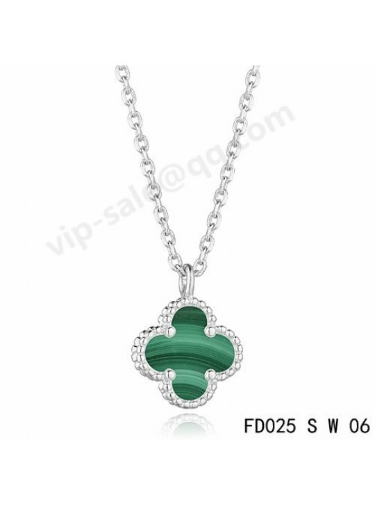 Van cleef & arpels Magic Alhambra necklace in white gold with Malachite