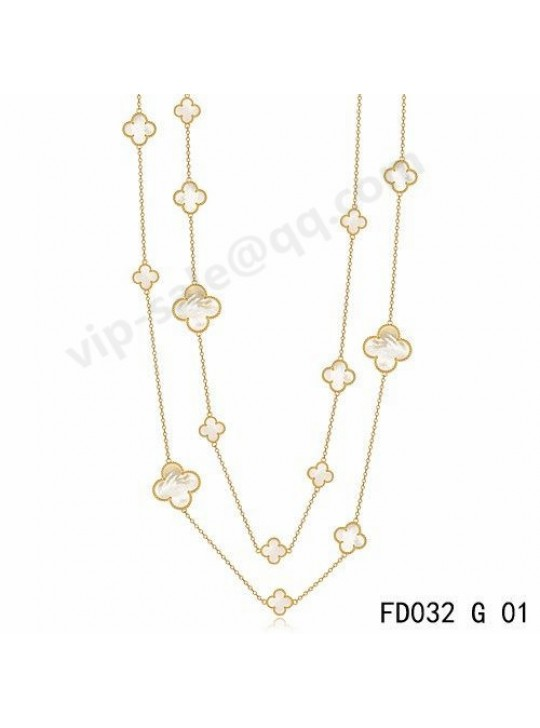 Van cleef & arpels Magic Alhambra long necklace in yellow gold with Mother-of-pearl