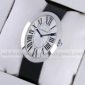Replica AAA Cartier Baignoire Large Stainless Steel Leather Strap Quartz Mens Watch