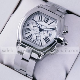 Replica AAA Cartier Roadster Chronograph Automatic Stainless Steel Silver Dial Mens Watches