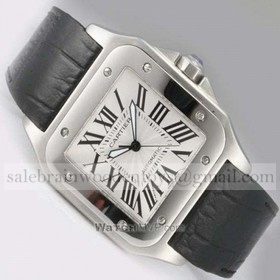 Replica AAA Cartier Santos 100 Stainless Steel Black Leather Strap Mens Watches