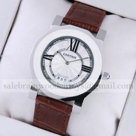 Replica AAA Cartier Stainless Steel Octangle Case White Dial Brown Leather Mens Watches