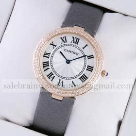 Replica AAA Ronde Solo De Cartier Rose Gold Two Rows Diamond Bezel Grey Satin Strap Ladies Watches