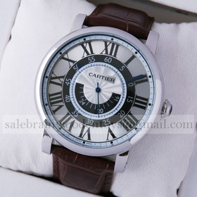 Replica AAA Rotonde de Cartier W1556051 Silver Dial Brown Leather Stainless Steel Mens Watches