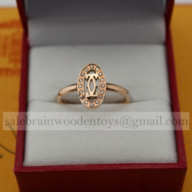 Replica Replica Cartier Logo Double C Ring Pink Gold Diamonds stainless steel