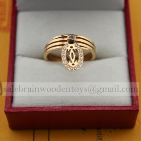 Replica Imitation Cartier Logo Double C Ring Pink Gold with Diamonds