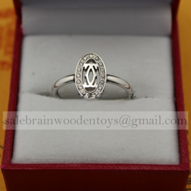 Replica Knockoff Cartier Logo Double C Ring White Gold with Diamonds