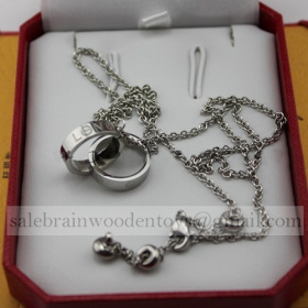 Replica Fake Cartier Love Necklace White Gold stainless steel