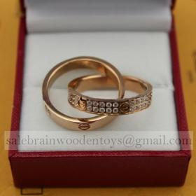 Replica Cartier Love Ring Replica Pink Gold Diamonds Bicyclic