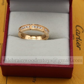 Replica Fake Cartier Maillon Panthere Wedding Ring Band Pink Gold Diamonds