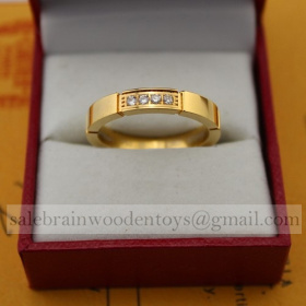 Replica Cartier Maillon Panthere Wedding Ring Band Yellow Gold 4 Diamonds