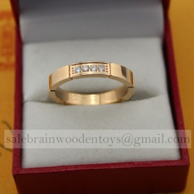 Replica Cartier Panthere Maillon Wedding Ring Band Pink Gold with 4 Diamonds