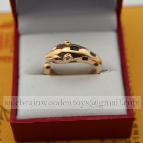 Replica Imitation Cartier Pink Gold Panthere Ring stainless steel