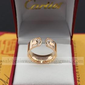 Replica Replica Cartier Pink Gold Ring Paved Diamonds Price