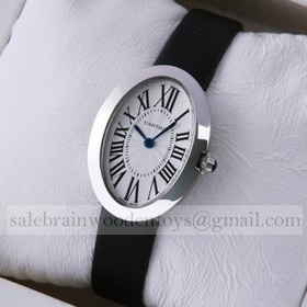 Replica Cartier Replica Baignoire Stainless Steel Satin Strap Quartz Ladies Watch