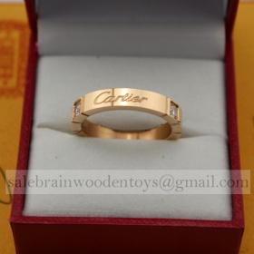 Fake Cartier Ring Lanieres Wedding Band Pink Gold with Diamonds
