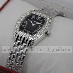 Replica Cartier Tortue Diamond Stainless Steel Diamonds Bezel Black Dial Ladies Watches Replica
