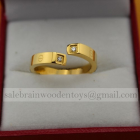 Faux Cartier Yellow Gold Love Ring Screw Motifs Diamonds