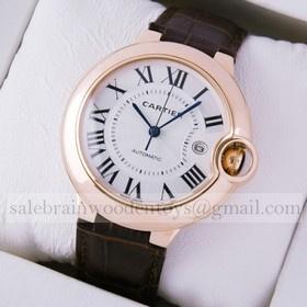 Replica Cheap Ballon Bleu de Cartier 18K Rose Gold Brown Leather Strap Large Mens Watches