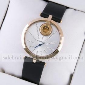 Replica Cheap Captive De Cartier 18k Rose Gold Black Fabric Strap Ladies Watches