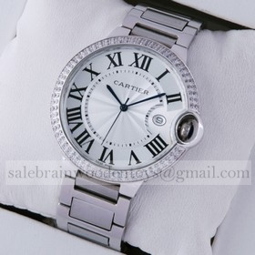 Replica Cheap Cartier Ballon Bleu de Cartier Two Rows Diamonds Bezel Steel Quartz Large Mens Watches