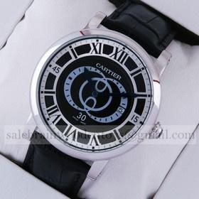 Replica Cheap Cartier Rotonde de Cartier Black Dial Black Leather Strap Steel Large Mens Watches