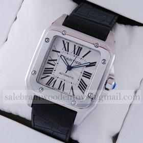 Replica Cheap Cartier Santos 100 Steel Black Leather Strap XL Mens Watch W20073X8