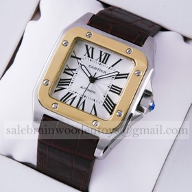 Replica Cheap Cartier Santos 100 Two-Tone Automatic Brown Leather Strap Mens Watches