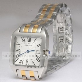 Replica Cheap Cartier Santos 100 Two-tone 18K Yellow Gold and SS Bracelet Unisex Watches