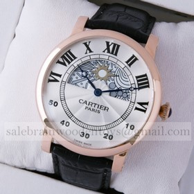 Replica Cheap Rotonde de Cartier Day-Night Collection Privee 18K Rose Gold Mens Watches