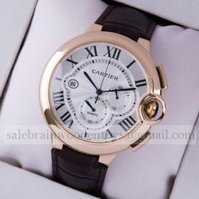 Replica Copy Ballon Bleu de Cartier Extra Large Chronograph 18K Rose Gold Leather Strap Mens Watches