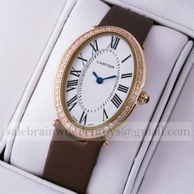 Replica Copy Cartier Baignoire Rose Gold Coffee Satin Strap Diamonds Unisex Watch