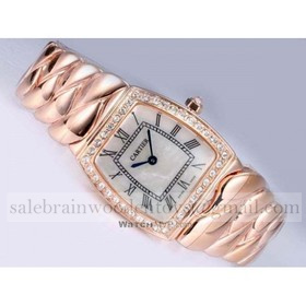 Replica Copy Cartier La Dona Diamond Rose Gold Large Diamonds Bezel Ladies Watches