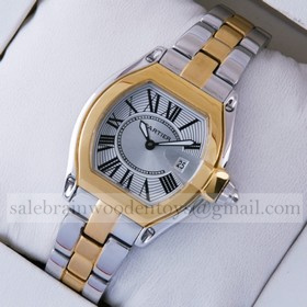 Replica Copy Cartier Roadster Two-tone 18K Yellow Gold and Stainless Steel Silver Dial Ladies Watches