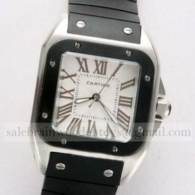 Replica Copy Cartier Santos 100 Stainless Steel Black Rubber Band Unisex Watches