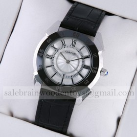 Replica Copy Cartier Stainless Steel White Dial Black Leather Strap Mens Watches