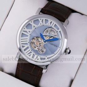 Replica Copy Rotonde de Cartier Stainless Steel Blue-White Dial Brown Leather Strap Tourbilon Watches