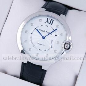 Replica Design Replica Ballon Bleu de Cartier Extra Large Stainless Steel Black Leather Diamond Mens Watches
