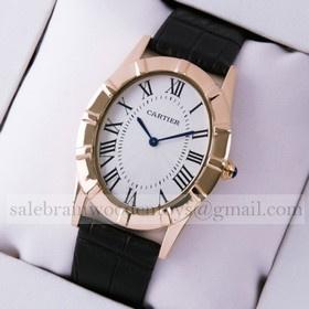 Replica Design Replica Cartier Baignoire Rose Gold Black Leather Strap Large Unisex Watches
