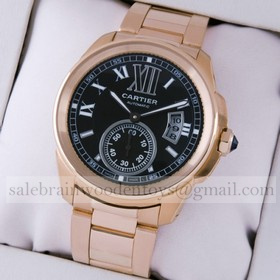 Replica Design Replica Cartier Calibre de Cartier 18kt Rose Gold Brown Dial Automatic Mens Watches