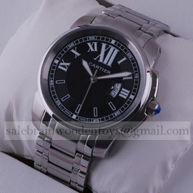 Replica Design Replica Cartier Calibre de Cartier Black Dial Stainless Steel Mens Watches