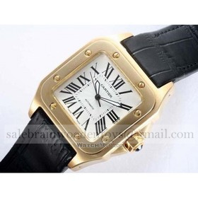 Replica Design Replica Cartier Santos 100 18K Rose Gold Leather Strap Unisex Watches