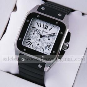 Replica Design Replica Cartier Santos 100 Chronograph Stainless Steel Black Rubber Band Mens Watches
