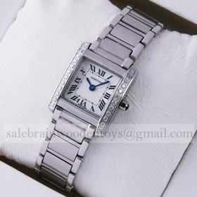Replica Design Replica Cartier Tank Francaise Single Row Diamonds Bezel Stainless Steel Ladies Watch