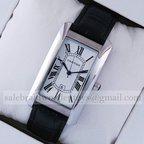 Replica Design Replica Cartier Watches Tank Americaine Stainless Steel Black Leather Strap Mens