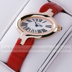 Replica Design Replica Delices De Cartier 18k Rose Gold Leather Strap Ladies Watches