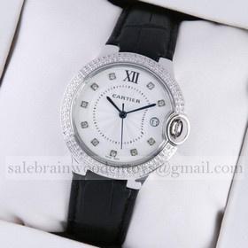 Replica Designer Ballon Bleu de Cartier Diamond Stainless Steel Black Leather Diamonds Markers Unisex Watches